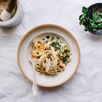 Spaghetti mit Zitronen Ricotta Sauce